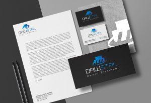 Wizualizacja projekty logo, papieru firmowego, wizytówki